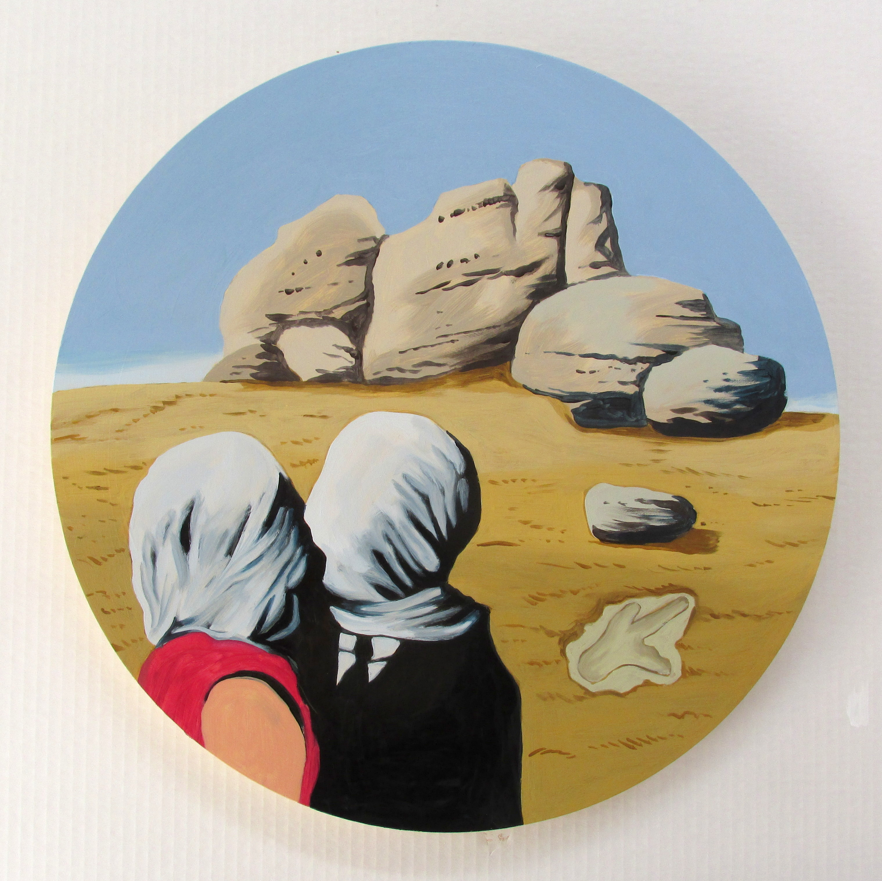 KIss at Castle Rock (after Magritte) 2019  500mm dia